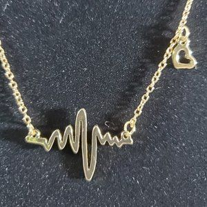 """Jewelry - Heartbeat Necklace on 18"""" Cable Chain"""